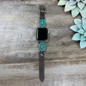 Accessories - Happy Trails Leather Apple Watch Band - Turquoise